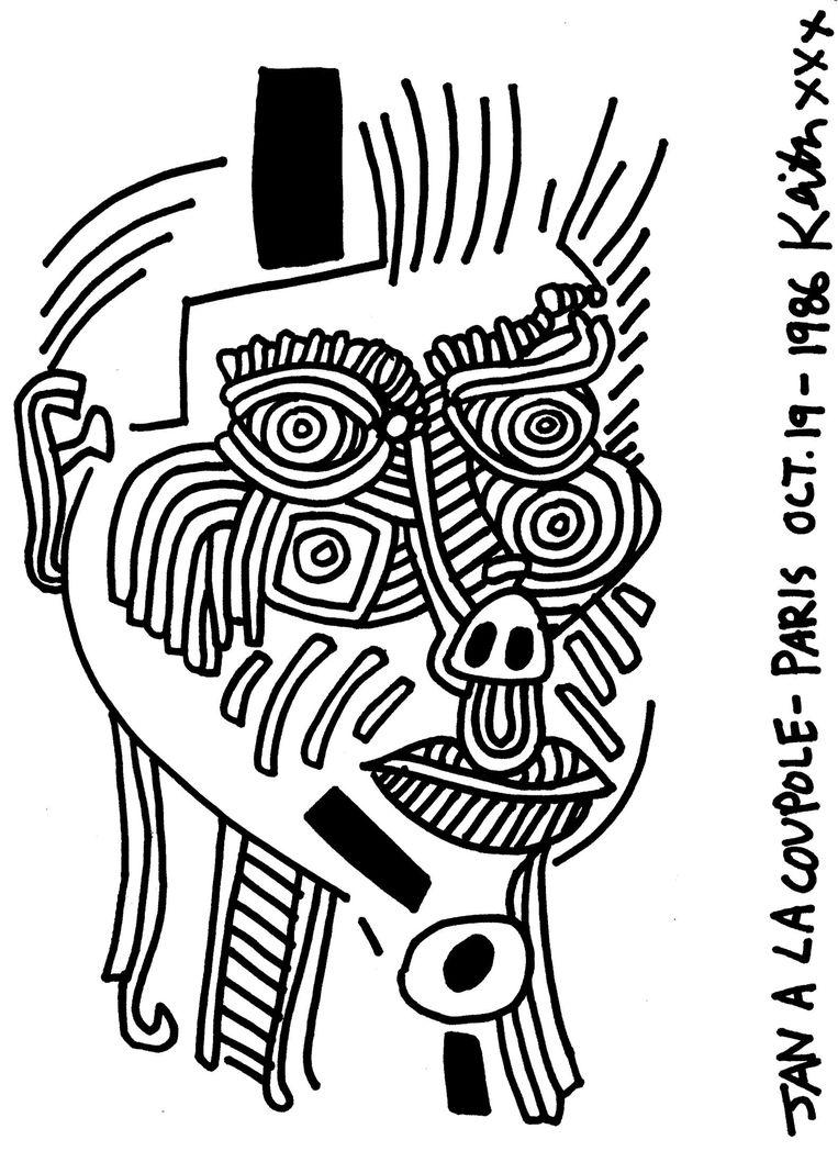 Het portret dat Keith Haring van Jan Rothuizen maakte Beeld Keith Haring