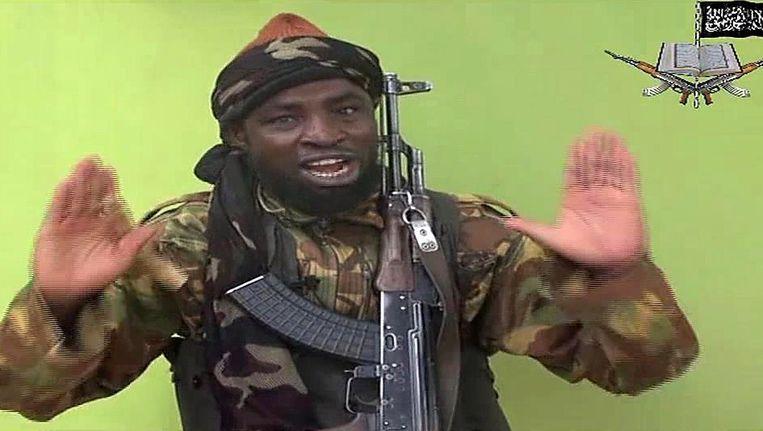 Boko Haram-leider Abubakar Shekau in de videoboodschap.