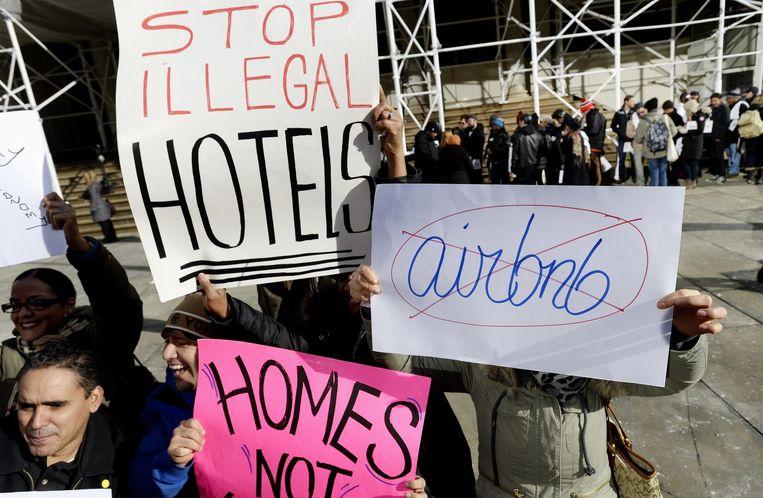 Protesten tegen Airbnb in New York Beeld anp
