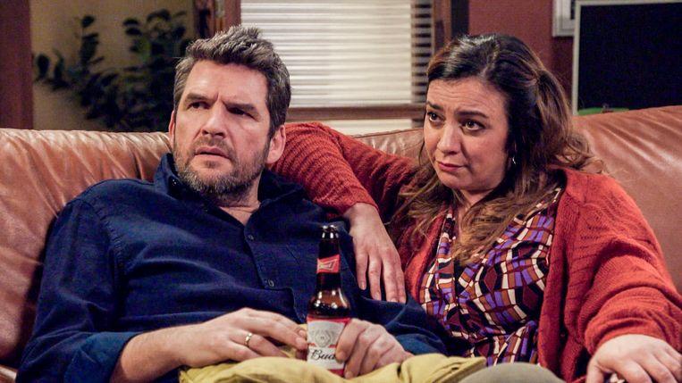 Jits Van Belle met haar tv-lief Roel Vanderstukken, die in 'Familie' de rol van Benny speelt.