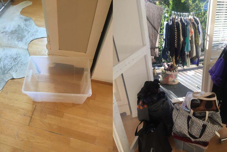 Een zak voor het Leger de Heils, een tas met zomerkleding en een waslijn op het balkon vol  kleding om weg te geven of te verkopen.  Beeld rv