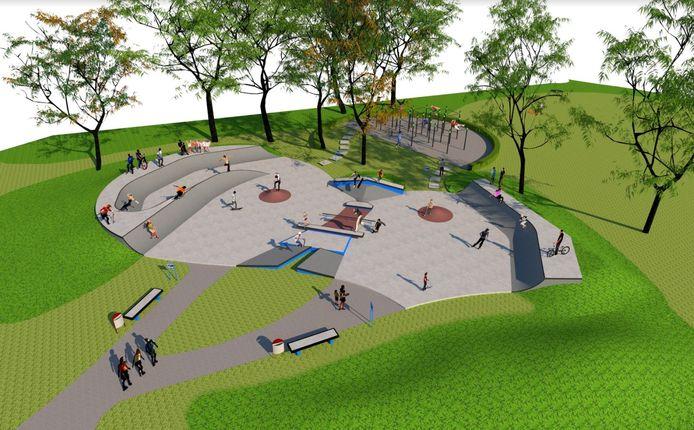 Het ontwerp van de nieuwe skatebaan in Putten, bovenin is het bestaande calisthenics-park te zien.