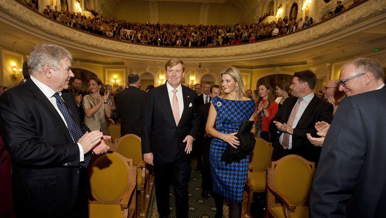 Koning Willem-Alexander en koningin Maxima voor aanvang van een concert van het jubilerende Koninklijk Concertgebouworkest in het Tsjaikovski Conservatorium op de tweede en tevens laatste dag van hun bezoek aan Moskou. Beeld ANP