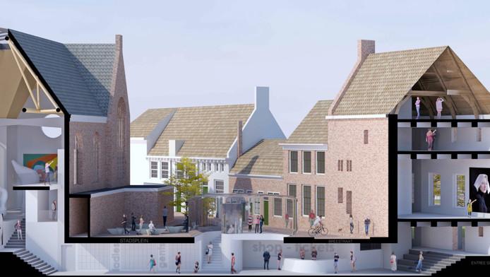 Ä In het nieuwe plan van de stichting verbindt een ondergronds entree de Elleboogkerk (l) met Flehite.