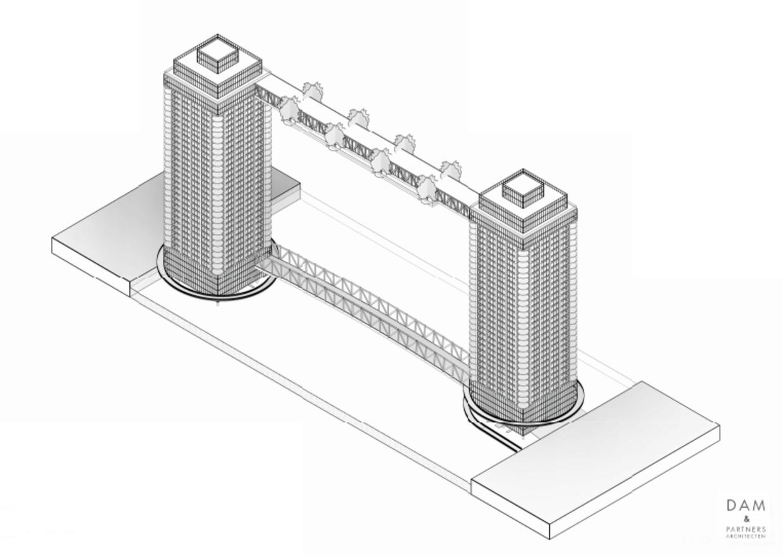 Architect Cees Dam heeft zijn 'Tower Bridge' over het IJ bedacht halverwege het Java-eiland. Beeld CEES DAM