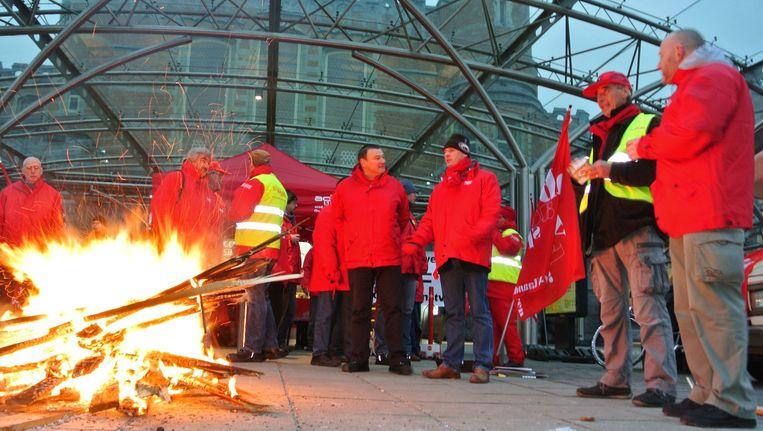 Archiefbeeld: stakingsactie van het ACOD, onderdeel van het ABVV, in het station van Gent Sint-Pieter op 1 december 2014.