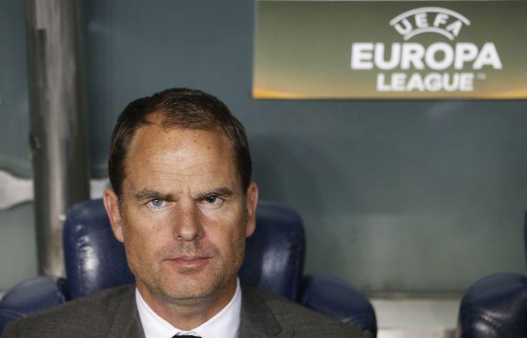 Ajax-trainer Frank de Boer tijdens de confrontatie tussen Ajax en Fenerbahce in de Europa League. Beeld anp