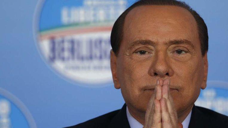 Silvio Berlusconi vandaag op een persconferentie in Rome.