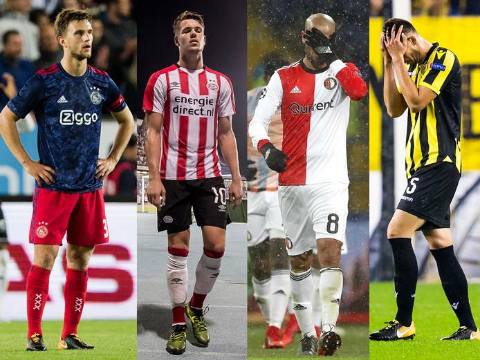 De aftocht van het Nederlands voetbal: Ajax, PSV, Feyenoord en Vitesse wonnen dit jaar niet in Europa.