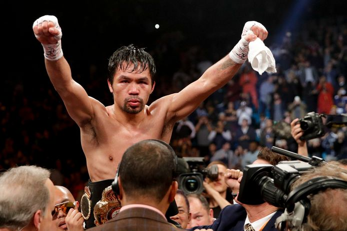 Manny Pacquiao viert zijn overwinning tegen Adrien Broner in de WBA-bokswedstrijd voor de weltergewichttitel op zaterdag 19 januari 2019 in Las Vegas.