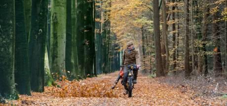 Theo zoekt het fietspad bij Putten met de bladblazer
