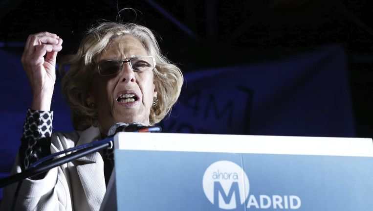 Manuela Carmena, burgemeester van Madrid. Beeld null