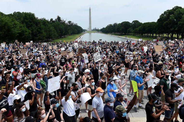 In Washington waren honderdduizend demonstranten op de been. Beeld AFP