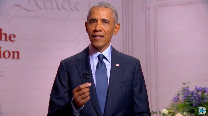 Voormalig Amerikaans president Barack Obama tijdens zijn videoboodschap voor de Democratische convenite.
