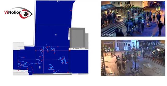 Het Living Lab op Stratumseind werkt met slimme camera's. Rechts de camerabeelden. De personen in beeld worden links omgezet in stipjes met een lijn in welke richting ze bewegen. De camerabeelden zijn bewust vaag gemaakt ivm privacy.