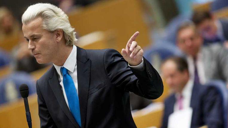 PVV-leider Geert Wilders in de Tweede Kamer. Beeld anp