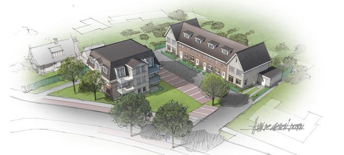 Woningbouwplan voor het perceel van voormalig Autobedrijf Hommel aan de Julianastraat 36 in Waspik.