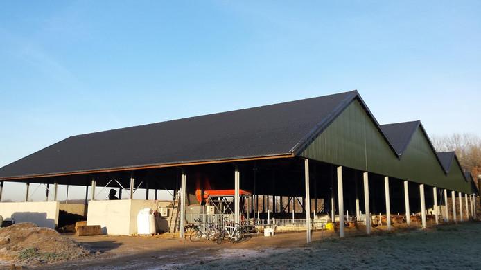 Op de kwatrijnstal van biologisch boer Sjaak Sprangers aan de Plantloonseweg in Kaatsheuvel worden in het voorjaar 432 zonnepanelen gelegd.