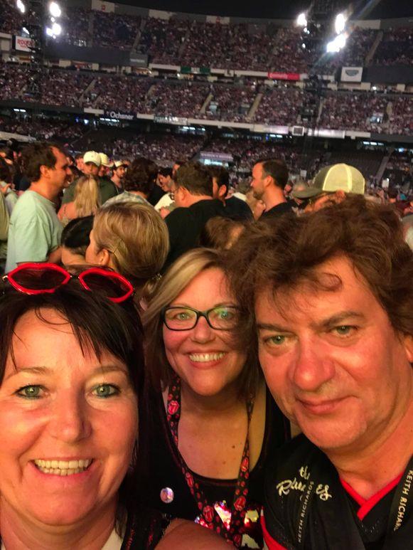 Luc Van der Hoeven met vriending Ria (links) in de VS voor de Rolling Stones.