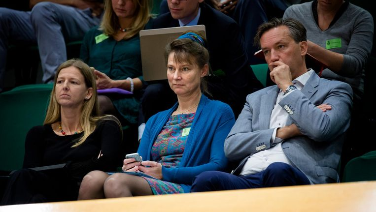 Directeur Marjan Minnesma van Urgenda (M) zit op de publieke tribune tijdens het debat over de uitspraak in de klimaatzaak. Beeld anp