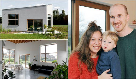 De schuine lijnen in dak en gevel bevorderen de privacy en energie-efficiëntie. Rechts: Sarah Vandendael (30), Bart Verbruggen (34) en zoon Cas (1)