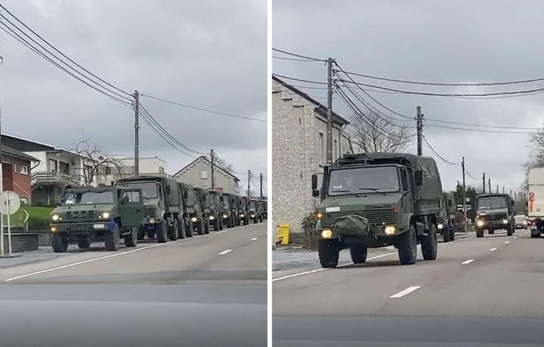 Filmpje met colonne legervoertuigen in ons land blijkt fake news.