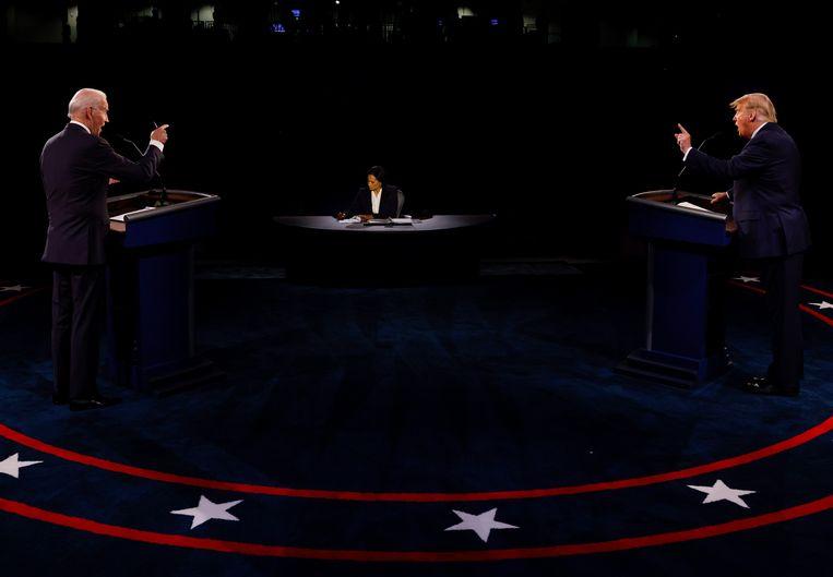 Joe Biden (links) en Donald Trump (rechts) in Nashville. Beeld EPA