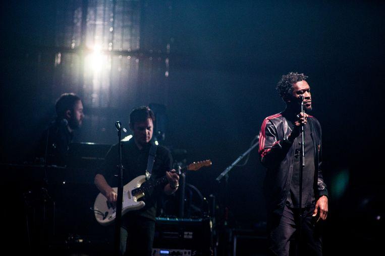 De Britse formatie Massive Attack met Robert Del Naja, Horace Andy en Grant Marshall treedt op in Afas Live.  Beeld Paul Bergen.