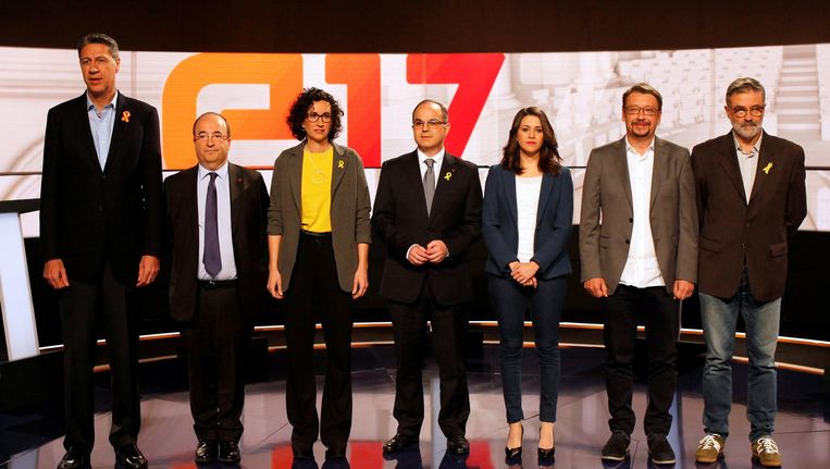 Catalaanse politici tijdens een televisiedebat voorafgaand aan de lokale verkiezingen Beeld reuters