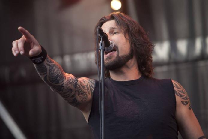 Zanger Niek Mollen van rockband Sleeve op Randrock 2013. Foto: Mark Troost.