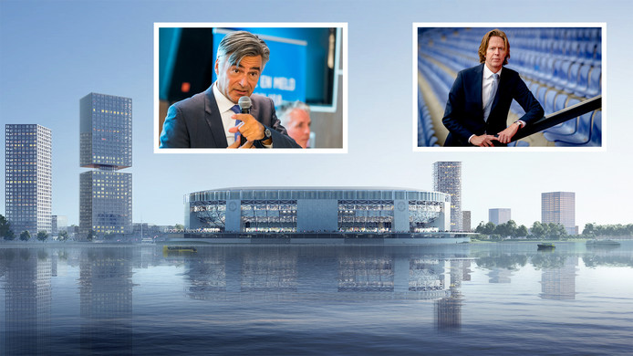 Het nieuwe stadion met beide kemphanen: wethouder Visser (l) en Feyenoorddirecteur Jan de Jong.