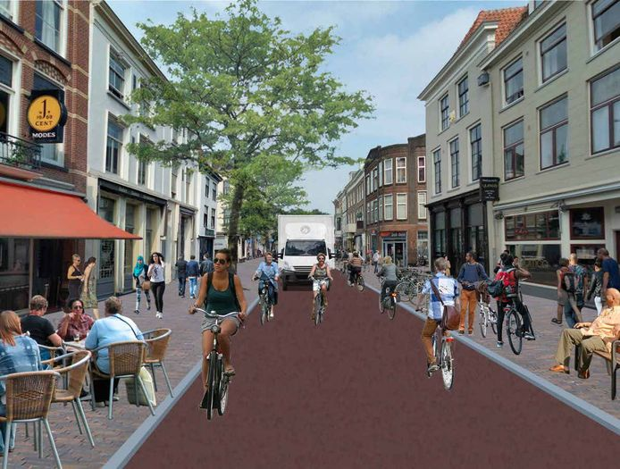 Impressie van de vernieuwde Voorstraat.