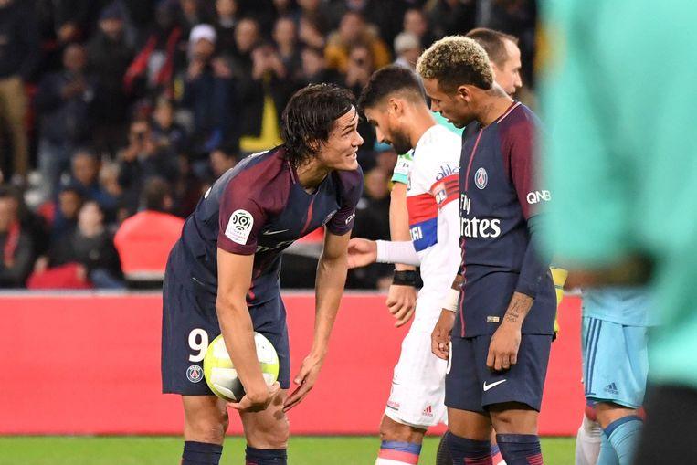 Cavani en Neymar in 2017.