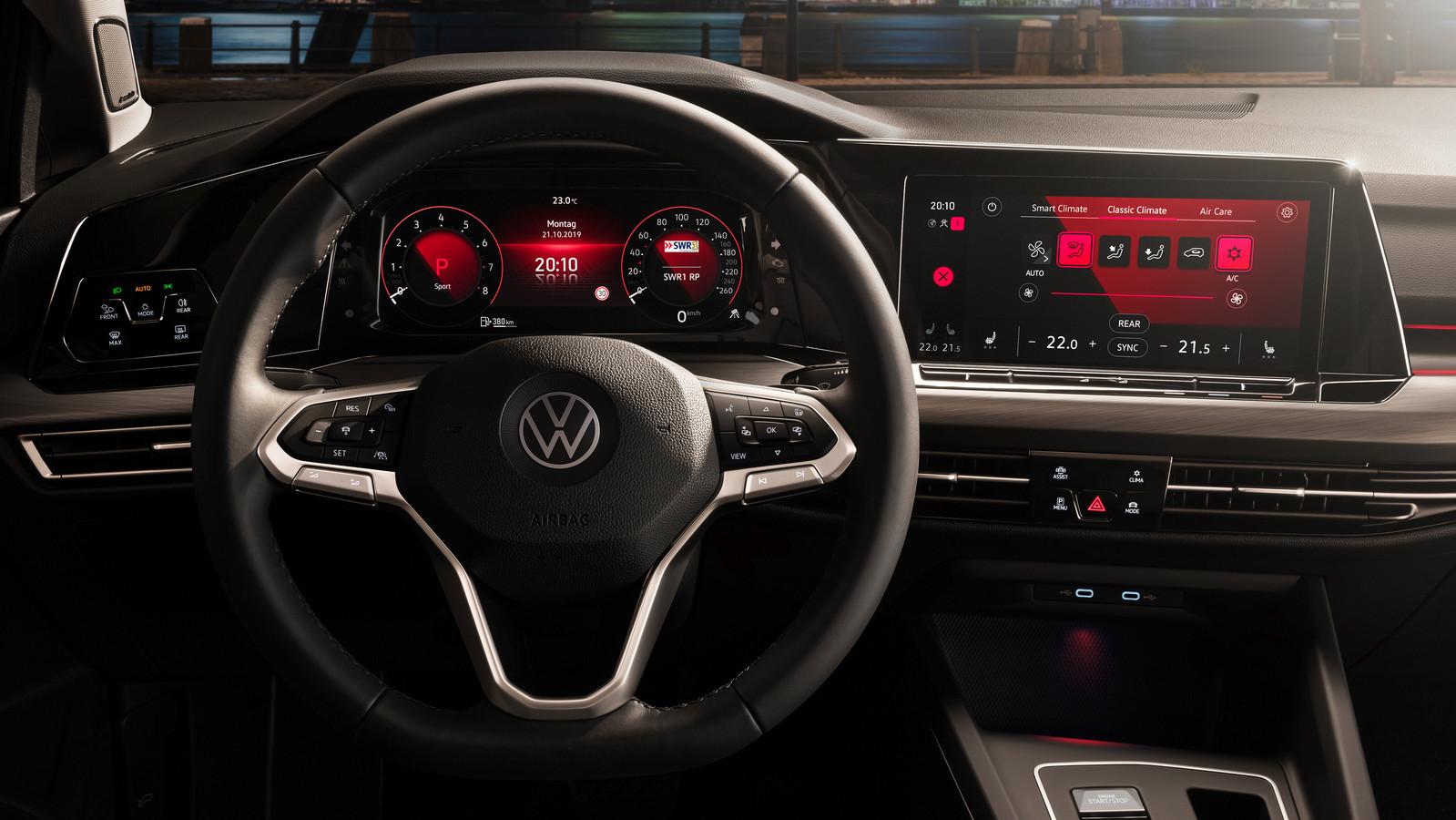 Het dashboard van de nieuwe Volkswagen Golf 8.
