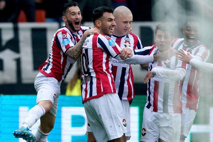 Vreugde bij Willem II na een treffer tegen Heracles Almelo.