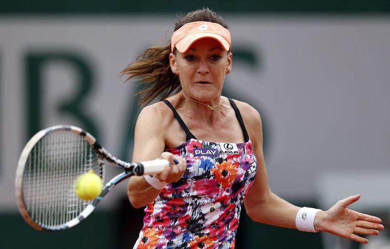 Ook Radwanska pakte in haar eerste ronde uit met/in een bloemenprint.