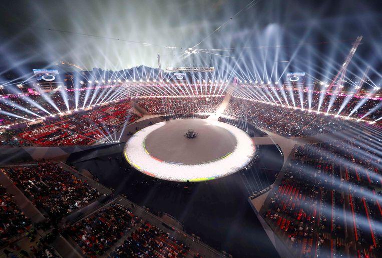 De openingsceremonie van de Winterspelen in het Olympisch Stadion van Pyeongchang, 9 februari 2018. Beeld REUTERS
