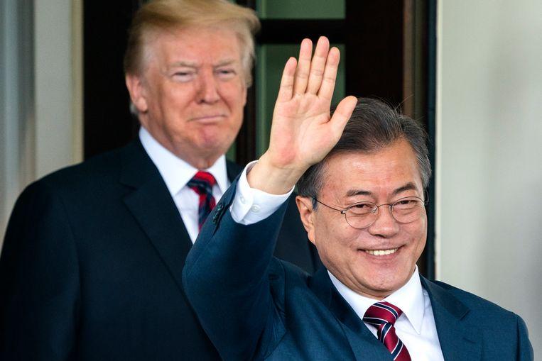 De Amerikaanse president Donald Trump en de president van Zuid-Korea Moon Jae-in