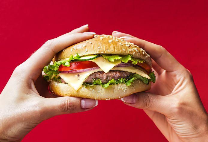 Een hamburger, zo lekker.
