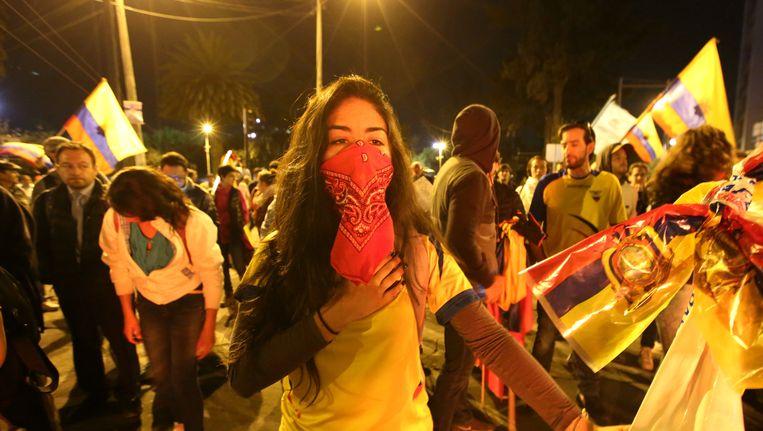 Aanhangers van de conservatieve presidentskandidaat Guillermo Lasso demonstreren in Quito, Ecuador.