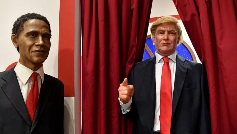 Obama en Trump in het wassenbeeldenmuseum in Rome. Beeld afp