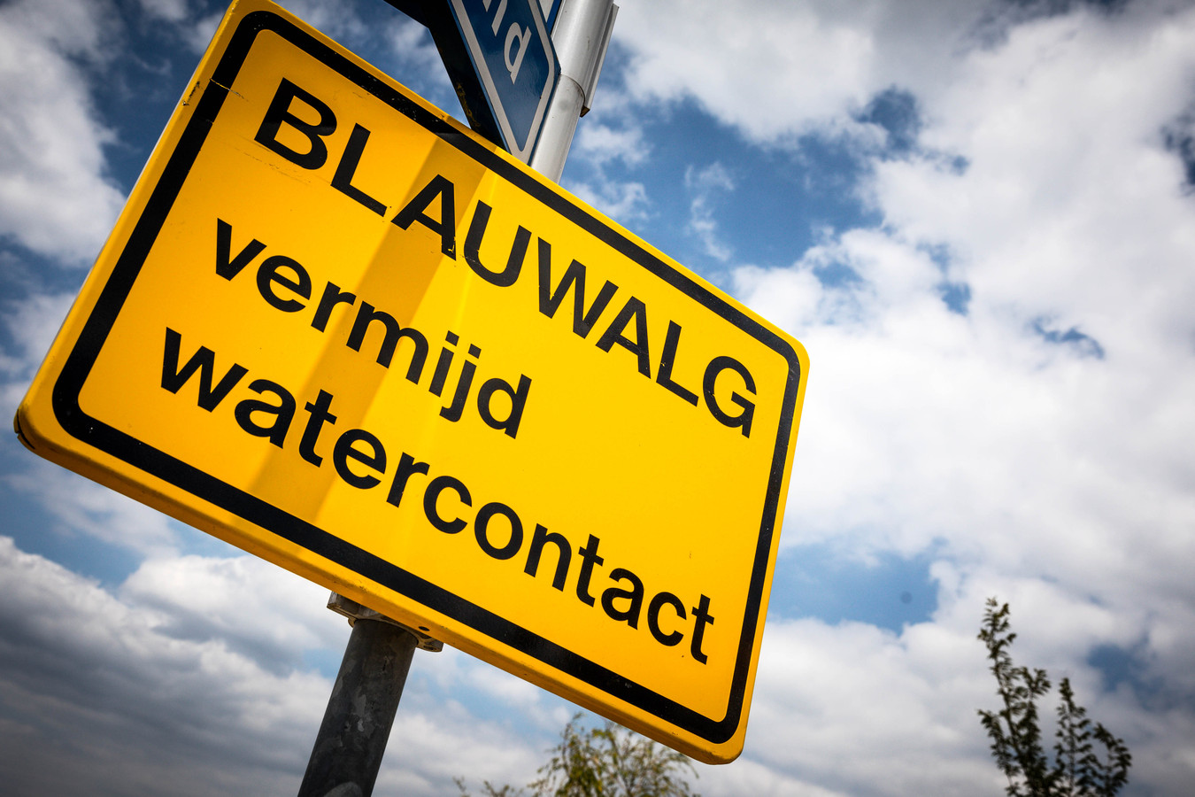 Een waarschuwingsbord voor blauwalg.