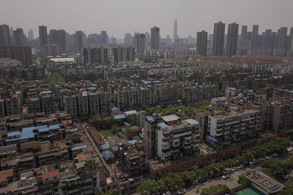 Luchtfoto van de miljoenenstad Wuhan.