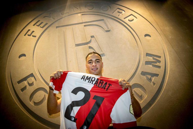 Sofyan Amrabat tijdens zijn presentatie bij Feyenoord  Beeld ANP