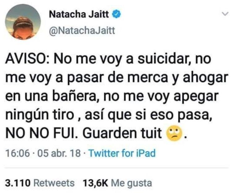 De tweet die Natacha Jaitt vorig jaar in april schreef.