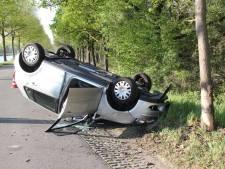 Auto raakt boom en slaat over de kop in Bornerbroek