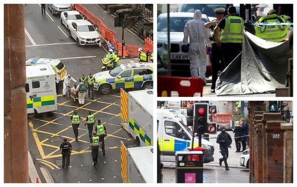 Een twittergebruiker nabij het hotel deelde een foto waarin ambulanciers een gewonde wegbrengen. Foto rechtsboven: aan het hotel is een zeil geplaatst om pottenkijkers te weren. Foto rechtsonder: zwaarbewapende agenten in de buurt van het hotel.
