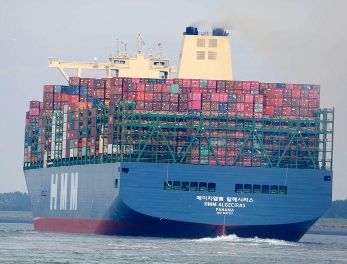 Containerschip Algeciras afgelopen zomer op de Westerschelde ter hoogte van Terneuzen.