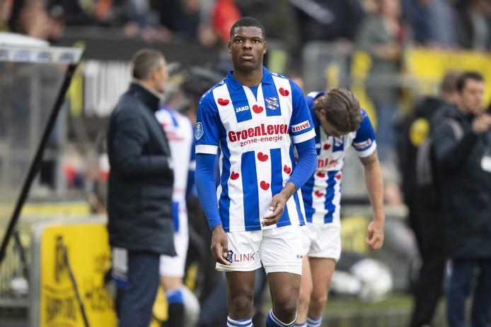 Denzel Dumfries in het shirt van sc Heerenveen.