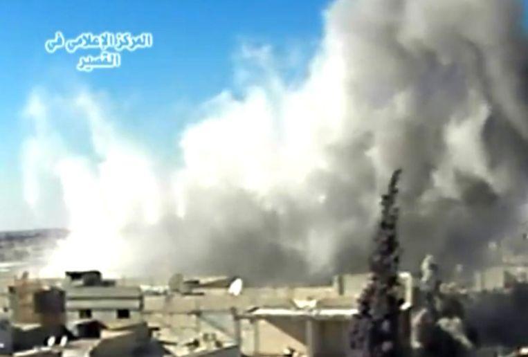 Beeld vanuit Qusair, waar afgelopen 10 dagen hevig wordt gevochten. Beeld afp